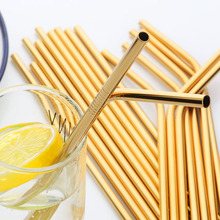 100pcs Gold Straws Metal Straw Bag Eco Friendly Reusable Stainless Steel Drinking Straight Bent Brush Cleaner Beer