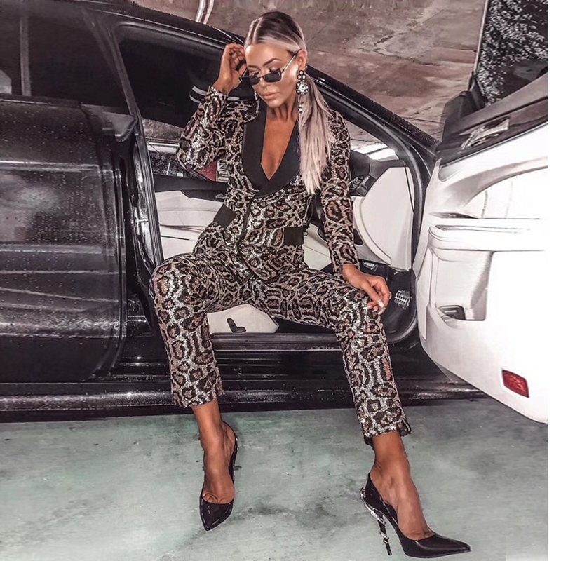 summer jumpsuit 2019 sexy deep v-neck leopard jumpsuit sequin bodysuits christmas party two 2 piece outfit for women wholesale