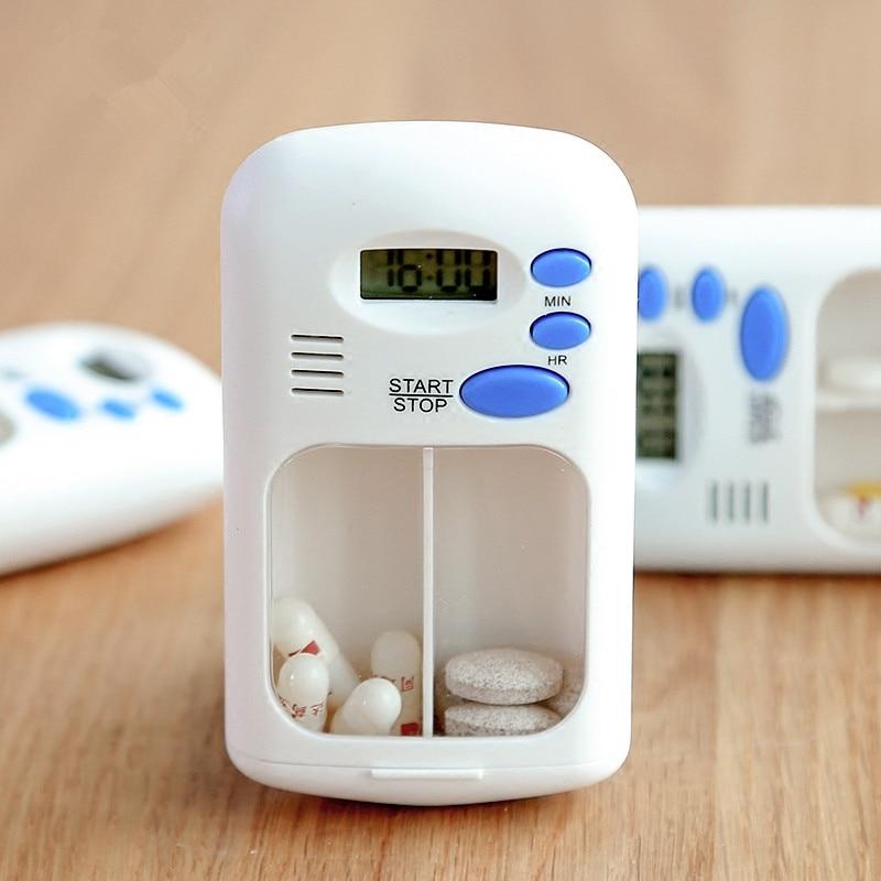 2019 Alarm Clock Reminder Medicine Box Portable Pill Box Mini Pills Organizer Case Intelligent Timing Pillendoos 2 Grids