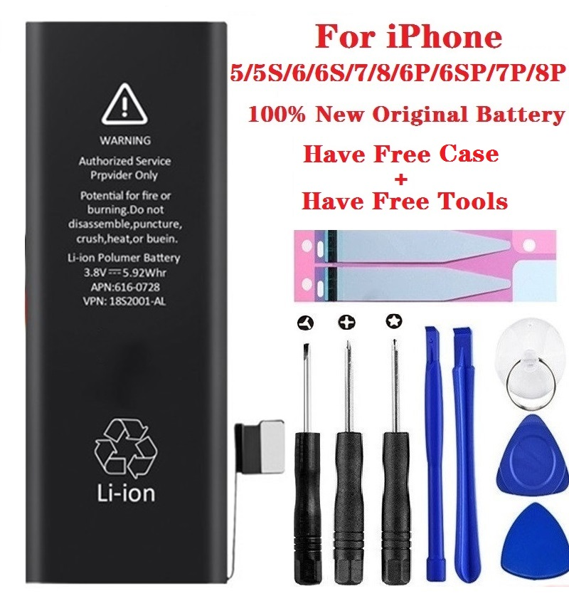 100% New For Apple IPhone Battery 5A High Quality Lithium Phone Battery For IPhone 6S 6 6p 6sp 7 7p 8 8p Real Capacity With Tool