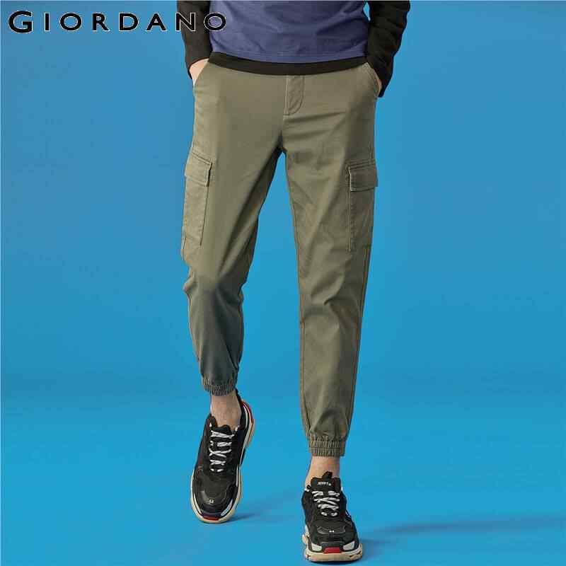 Giordano męskie spodnie multi-pocket rozciągliwe biegaczy elastyczny pas lekki rozciągliwy Casual Pantalones Hombre 13119810