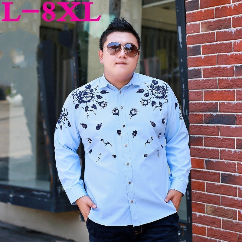 Plus Size 8XL 7XL 6XL Floral Printed Men Casual Shirts Classic Men Dress Shirt Men's Long Sleeve Brand New Fashion Spring Shirts
