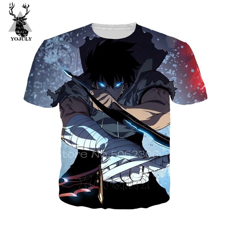 Solo Leveling Shirt Fashion Funny Men's T-shirts Cosy 3D Anime Harajuku Tee Summer Hip Hop O-neck Short Sleeve Streetwear Top 83