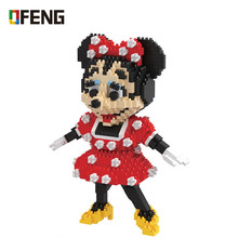 HC Magic Blocks Minnie Mouse Mini Blocks Micro Bricks Anime DIY Building Cartoon Toys Juguetes Auction Model toy Children Gifts