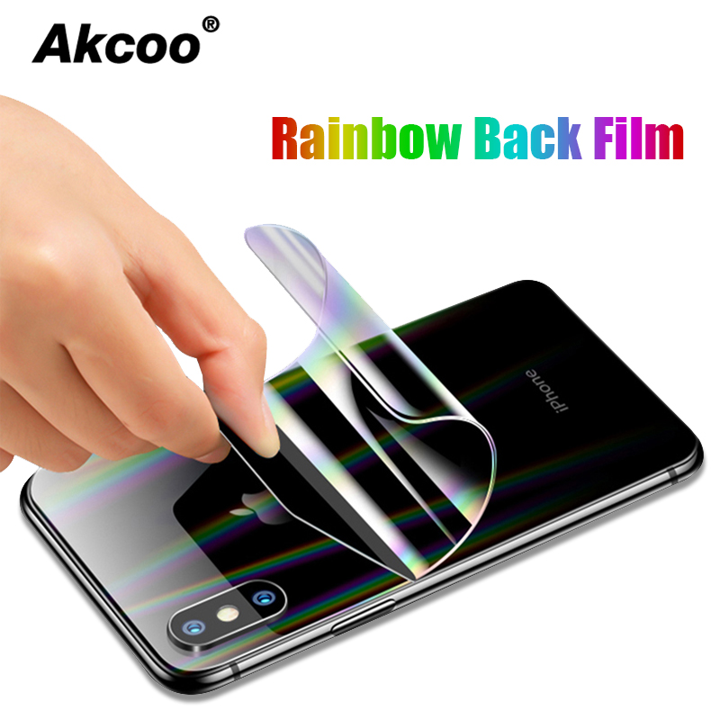 Akcoo Aurora Colorful Back Film For IPhone 11 Pro Max Screen Protector Rainbow Rear Protector For IPhone 6s 7 8 Plus Xr Xs Max