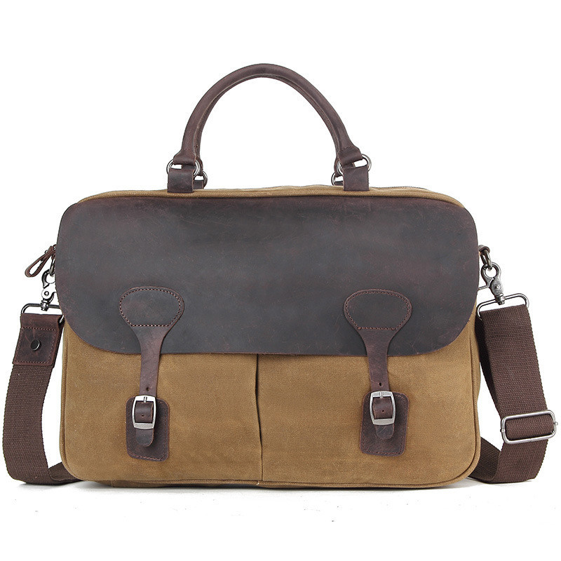 Briefcase Bag 15.6 Inch Laptop Messenger Bag Business Office Batik Cloth Satchel Shoulder Bags Vintage Men Canvas Handbags