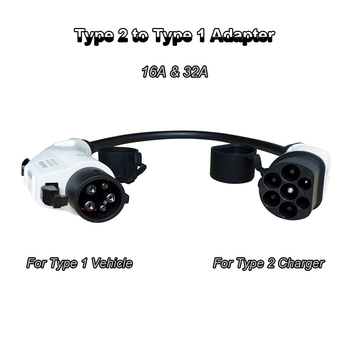Duosida EVSE 16A 32A Type 2 to Type 1 EV Adapter SAE J1772 Plug Electric Cars Vehicle Charging Adaptor EV Charger 0.5m Cable duosida type 1 to type 2 iec62196 32a ev charging plug with 5m tuv ul cables 32a