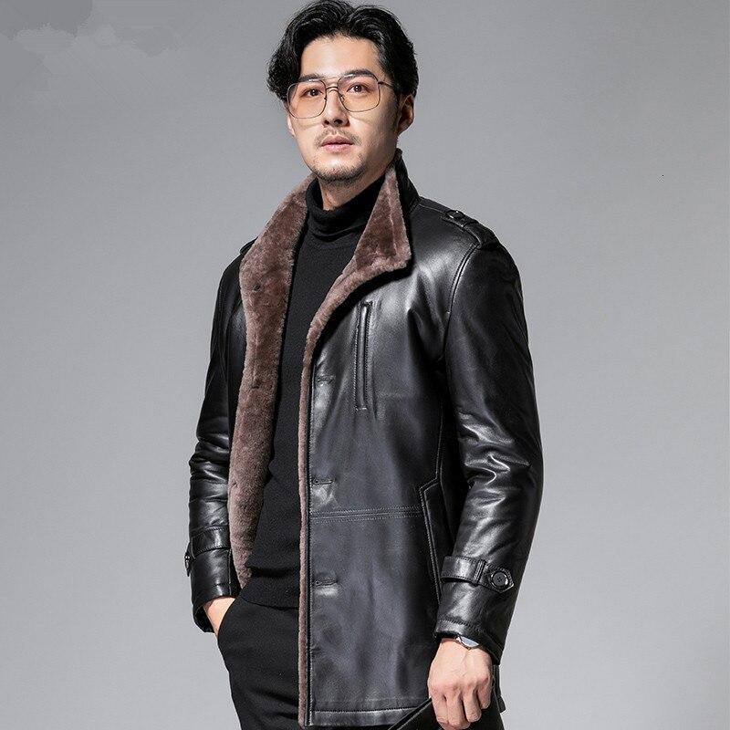 Genuine Leather Jacket Men Sheep Shearing Winter Coat Men Real Fur Coat Natural Wool Jacket For Mens Clothing Casaco YY864