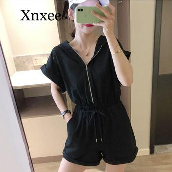 Loose Summer Playsuit Overalls For Women Long Sleeve Casual Button Shirt Rompers Boho Beach Short Jumpsuit Hooded Outfits Gym women summer tie dye print romper elastic waist short sleeve colorblock jumpsuit with pocket stylish loose casual beach playsuit