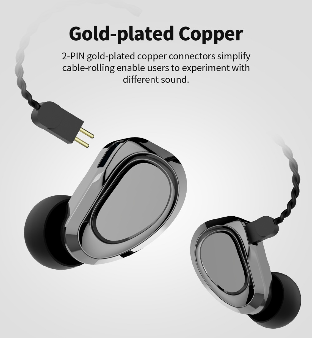 Kbear kb04 1ba+1dd hybrid driver hifi earphone dj running earbud with 2 pin connector kb06/f1/kb10 (gun with mic)