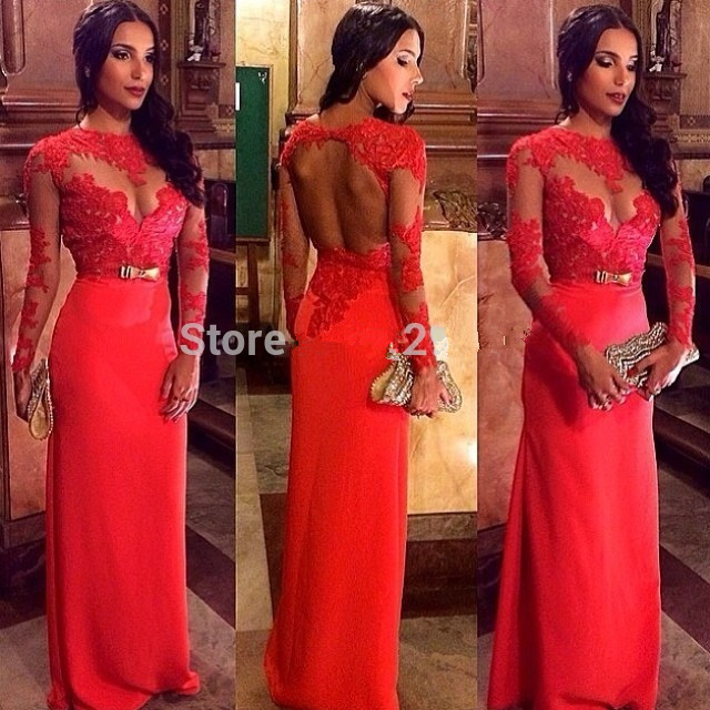 Custom Made Long Sleeve Sexy Backless Red Prom 2018 Lace Applique Chiffon Evening Gowns Formal Mother Of The Bride Dresses