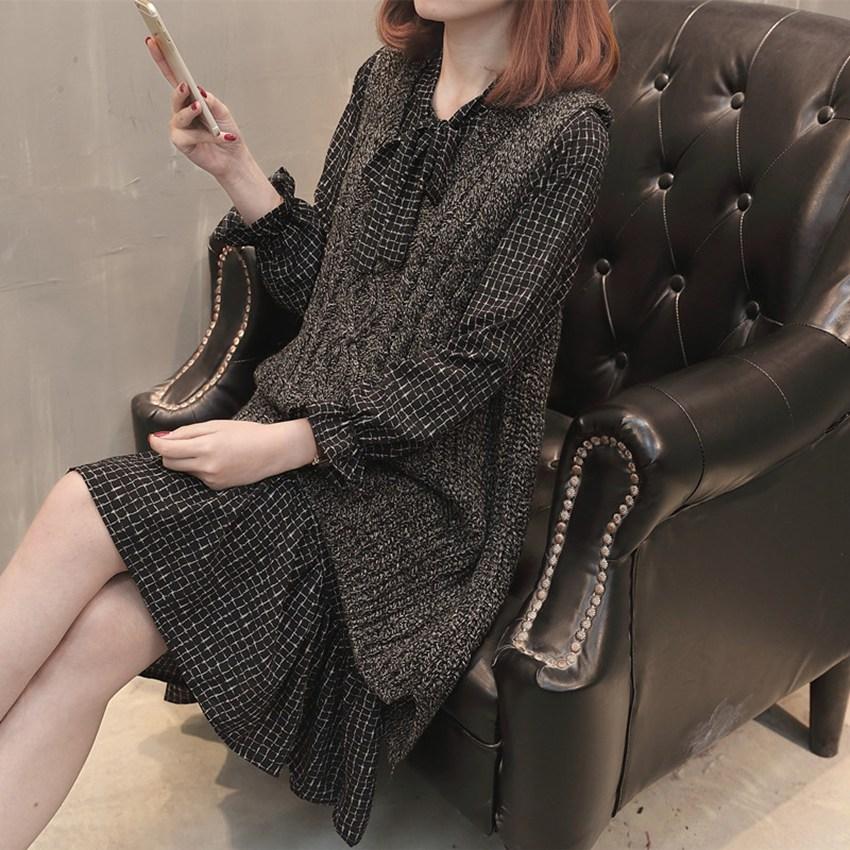 Version coréenne de la nouvelle automne maternité robe pull veste gilet femmes enceintes robe à carreaux à l'intérieur de deux ensembles