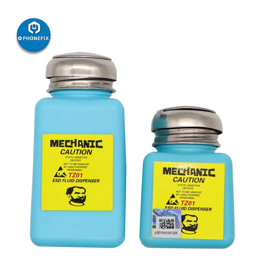 Mechanic Tools Alcohol Bottle 100ml / 180ml Plastic Liquid Bottle Alcohol Container ESD Refillable Cleaner Dispenser Empty Pump