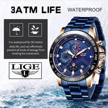 LIGE Fashion Blue Watch Mens Watches Stainless Steel Waterpr