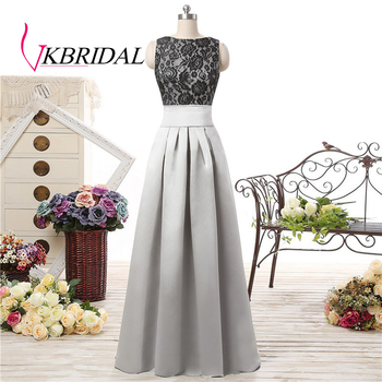 VKBRIDAL Silver Satin Bridesmaid Dresses Black Lace Bodice Backless Long Wedding Guest Party Dress