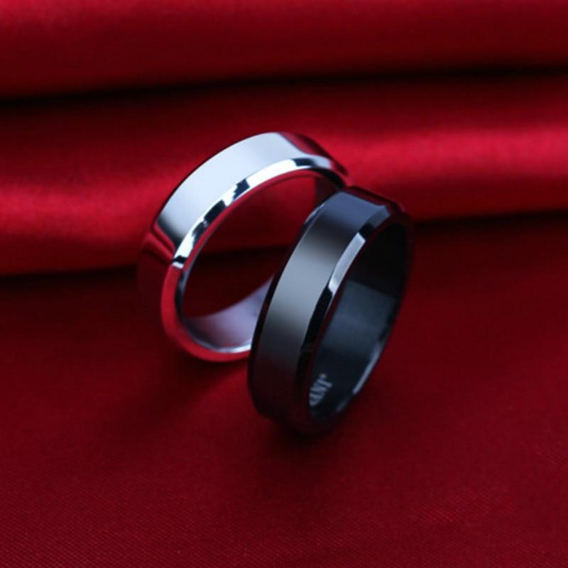 1pcs Lovers Double Bevel Edge Steel Titanium Finger Rings Party