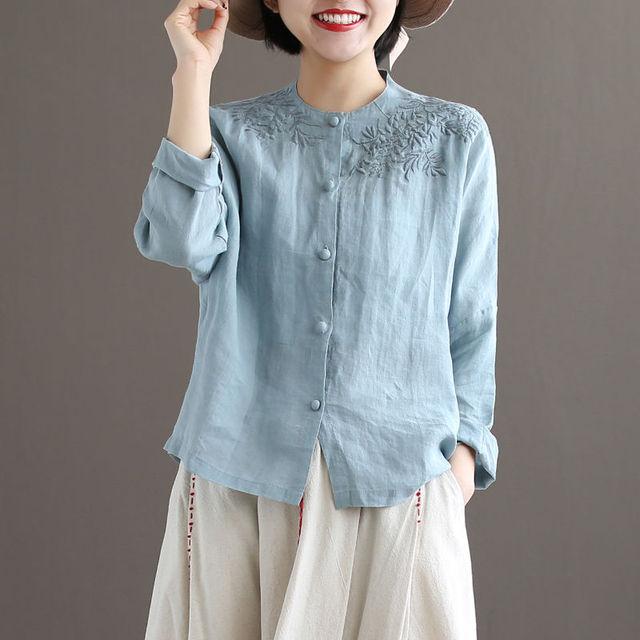 Women Long sleeve Linen Button  1
