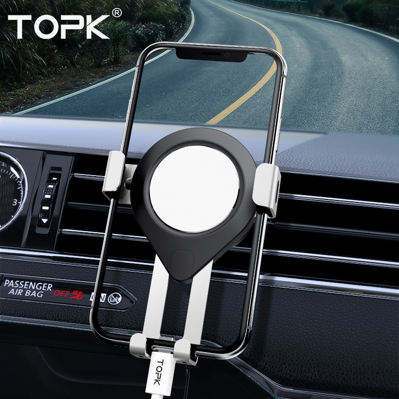 TOPK D17 Aluminum Alloy Gravity Air Vent Mount Car Phone Holder  For IPhone 11 Pro Xs Max Xiaomi Samsung Mobile Phone Holder