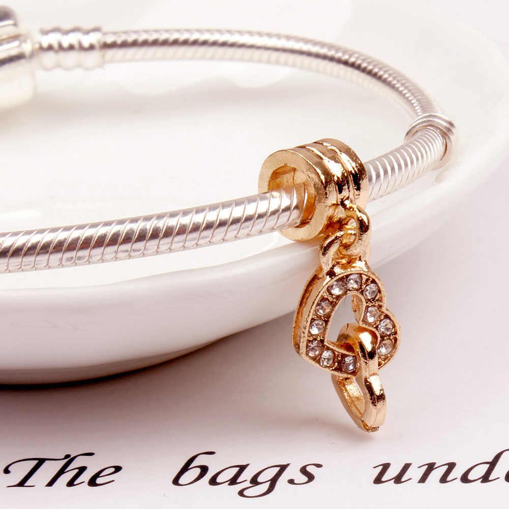 Heart Lock Love Crown Snow Flower Crystal Charm Pendants DIY Silvering Women Jewelry Fit Necklace Bracelet Big Hole Bead Pendant