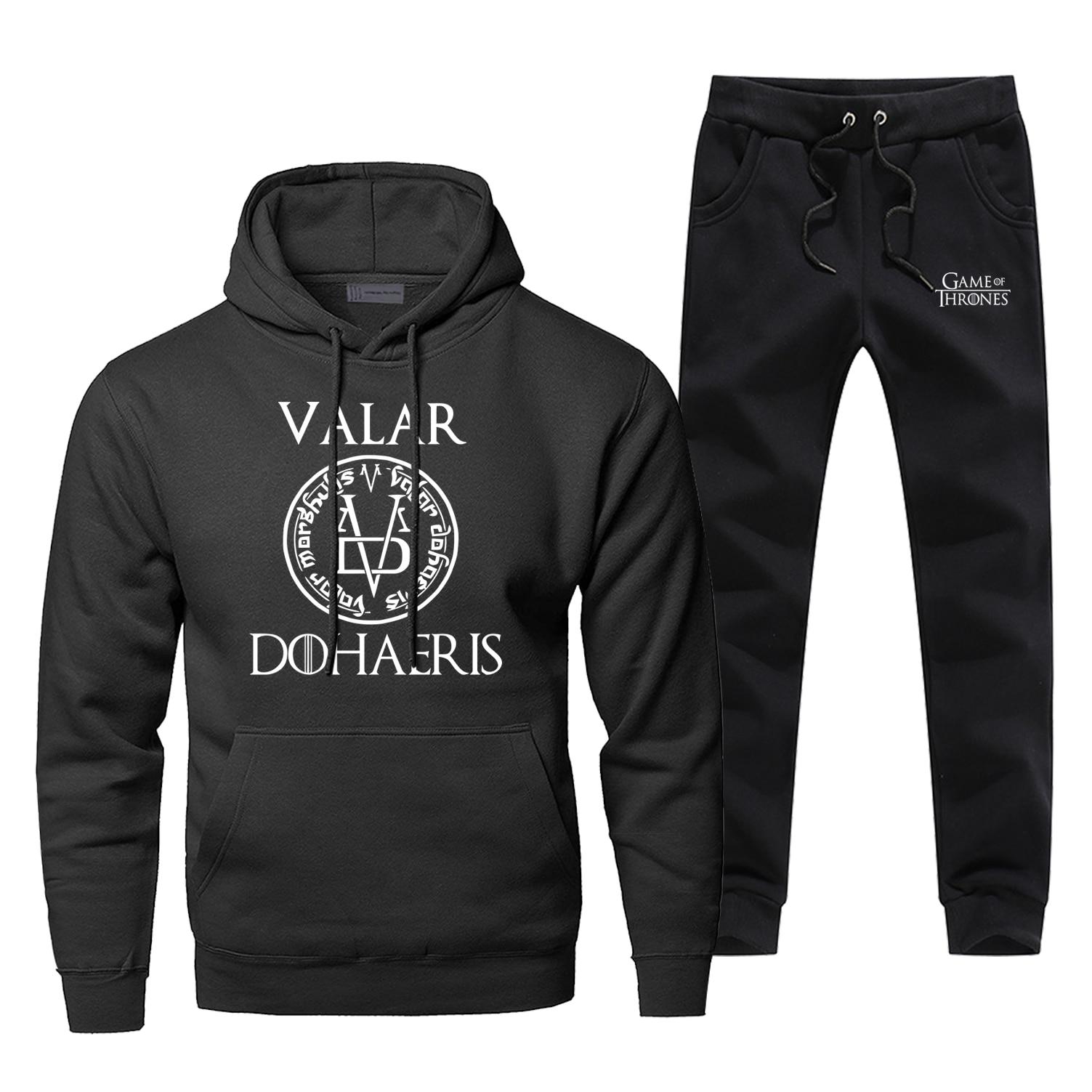 Hoodies Pants Set Game Of Thrones Valar Dohaeris Men Hoodie Sweatshirt Mens Hoodies Pollover 2 Piece Set Streetwear Sweatshirts