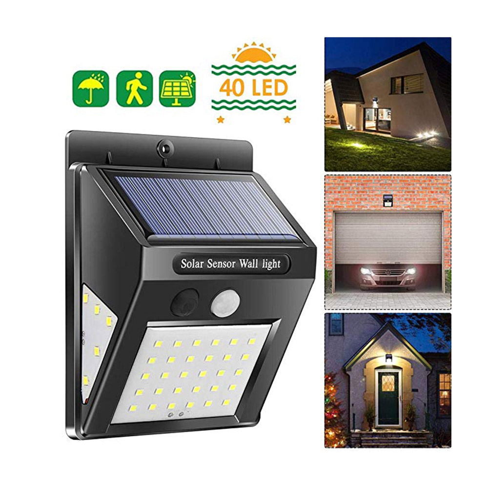 BRELONG Solar LED Wall Light Waterproof Three-sided Illuminated Motion Sensor Outdoor Fence Garage Lighting Human Body Induction