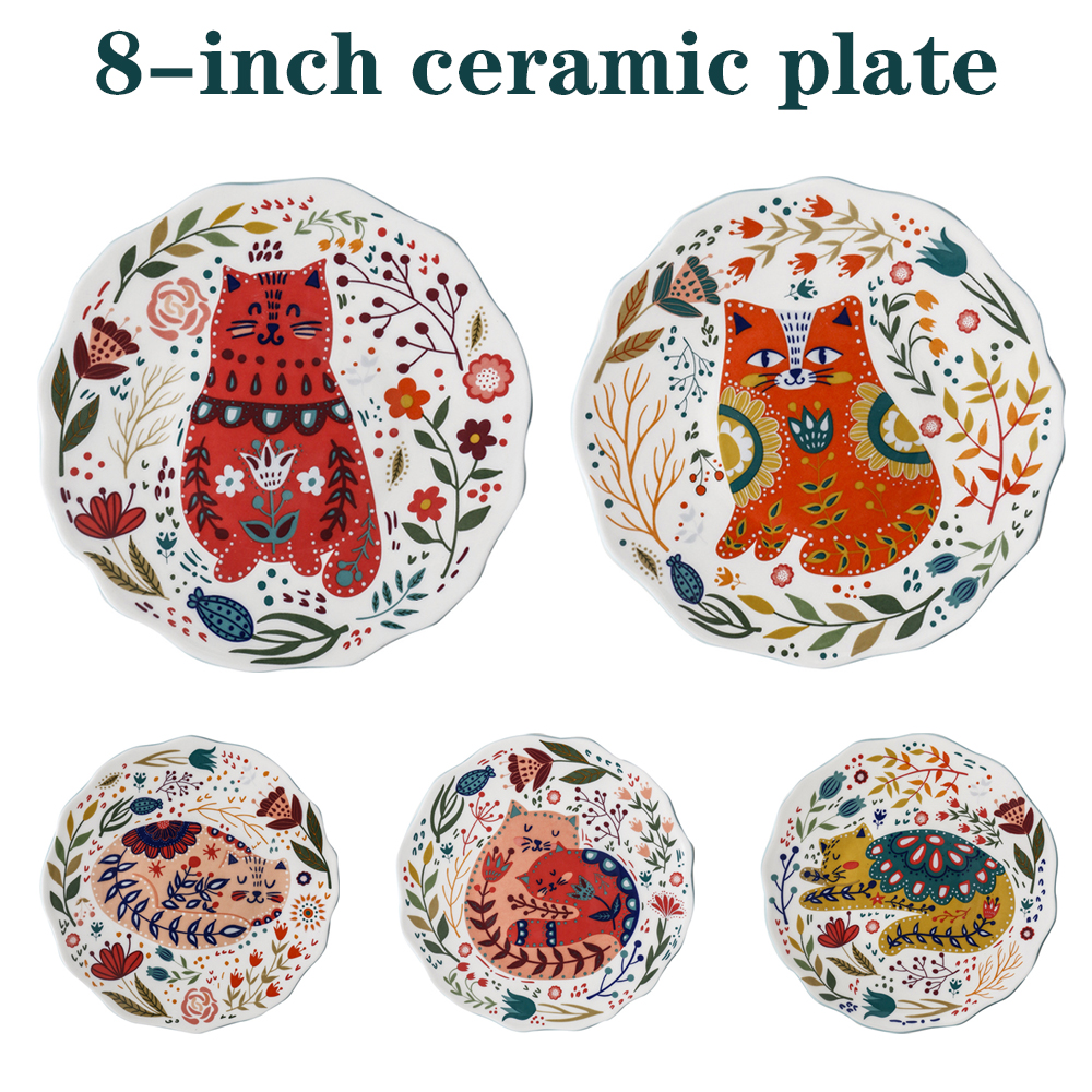 Керамическая тарелка ручной работы, тарелка для еды в западном стиле, домашняя кухонная десертная тарелка, тарелка для фруктов, 8 дюймов, мил...