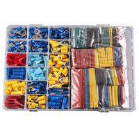 558 pces tubo do psiquiatra do calor sleeving kit conjunto fio do carro terminais elétricos friso conectores com caixa de plástico