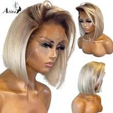 Atina-pelucas de cabello humano transparente para mujeres negras, cabello humano liso Bob sin pegamento, Color rubio ombré 613, predesplumada HD