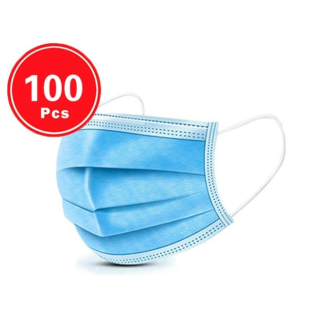 High Quality Dropping 50pcs 100PCS  Non Woven Disposable Face Mask 3 Layers  Face Masks Ear loop Mouth Mask 4
