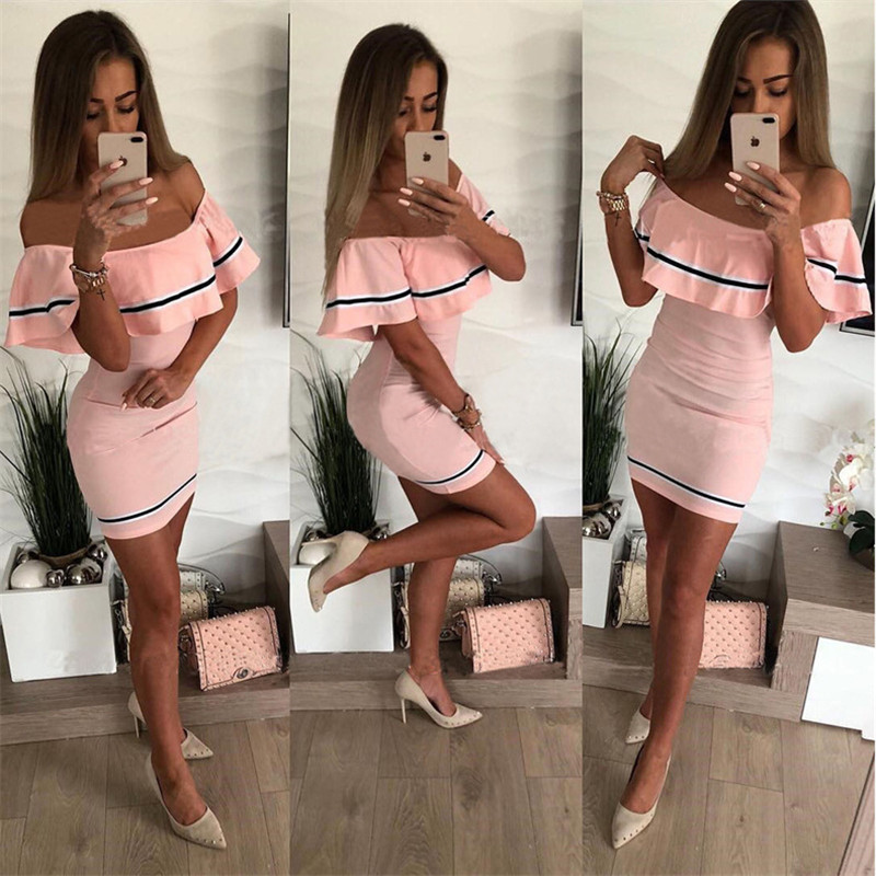 Hdcd3add38784447786249bb677a16b1cq - Off Shoulder Slash Neck Sexy Autumn Party Dress Striped Ruffles Short Sleeve Summer Dress Women Plus Size Casual Beach Vestidos