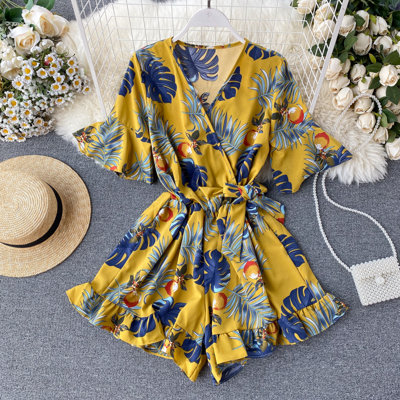 Sweet Ruffled Women Playsuits Elastic High Waist Bow Print Female Wide-legged Shorts Pants Jumpsuit Romper Overalls For Girls W8
