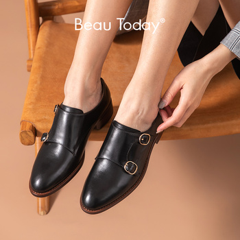 BeauToday Monk Shoes Women Genuine Cow Leather Buckle Straps Pointed Toe British Style Ladies Casual Flat Shoes Handmade 27184 beautoday monk shoes women buckle straps genuine leather calfkin round toe lady flats handmade brogue style shoes 21408