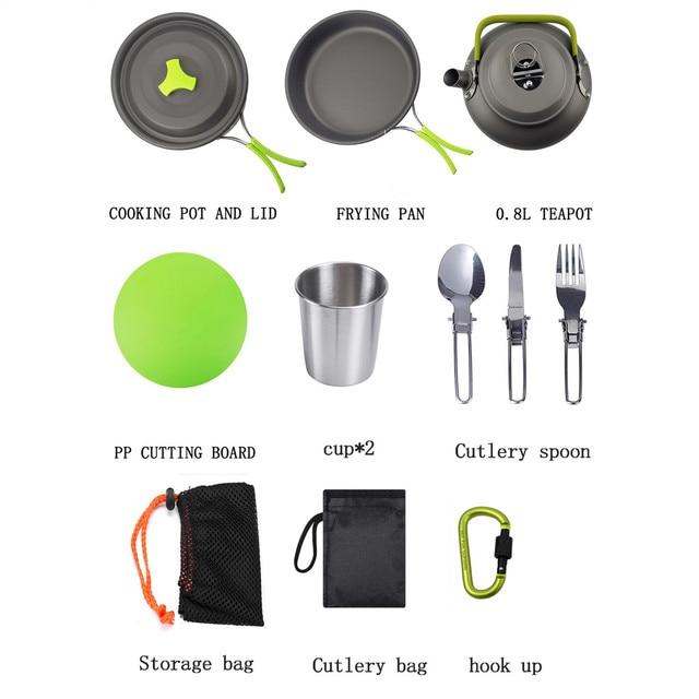 10 pc 야외 휴대용 캠핑 냄비 식기 요리 세트 2-3 사람들 피크닉 여행을위한 야생 피크닉 바베큐 식기 냄비