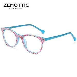 Image 2 - ZENOTTIC asetat Anti mavi ışık engelleme gözlük çerçeveleri çocuk çocuk Boy kız bilgisayar oyun optik miyopi gözlük
