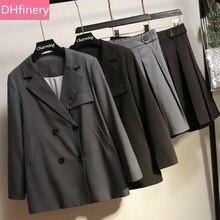 DHfinery высокое качество Женский комплект из 2 предметов Весна Осень Черный Серый Блейзер юбка костюмы для груди 109-133 см леди 50-100 кг XL-5XL H016