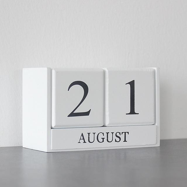 Wooden Perpetual Desk Calendar Block Planner Permanent Desktop Organizer DIY Agenda Table Decoration Vintage Home Decor 4