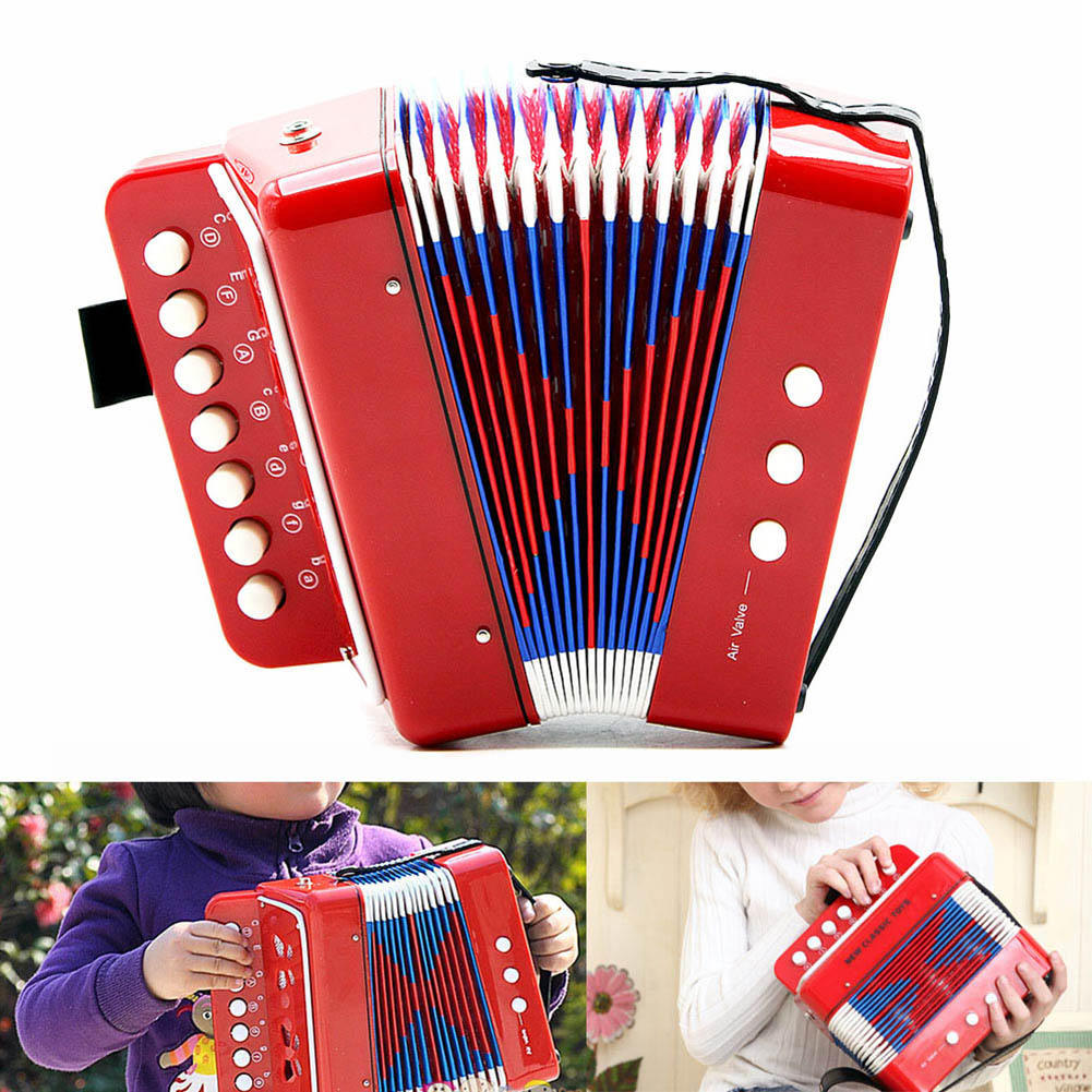 Mini Small Accordion 17-Key 8 Bass Educational Musical Instrument Rhythm Band Toy For Kids Children Gift