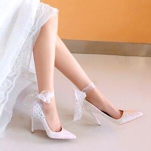 Image 4 - สตรีรองเท้าแต่งงานส้นสูงปั๊มBling Shiningรองเท้าสุภาพสตรีรองเท้าชุดใหม่มาถึงแฟชั่นรองเท้า