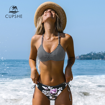 CUPSHE Black Stripe Floral Low Waist Bikini Sets Sexy Reversible Bottom Swimsuit Two Pieces Swimwear Women 2021 Bathing Suits