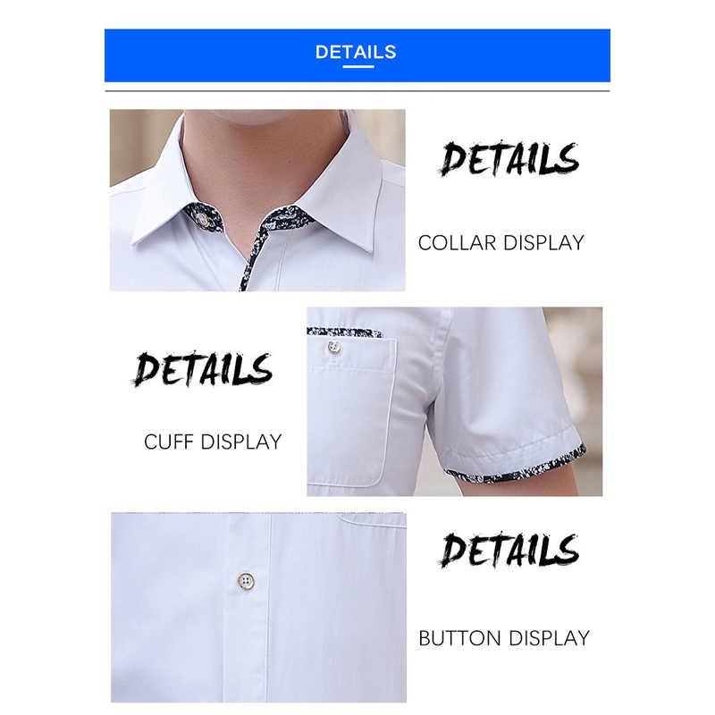 Browin 2020 الصيف قميص رجالي قصيرة الأكمام بلون بدوره إلى أسفل طوق منتظم صالح الأبيض قميص فستان لملابس العمل