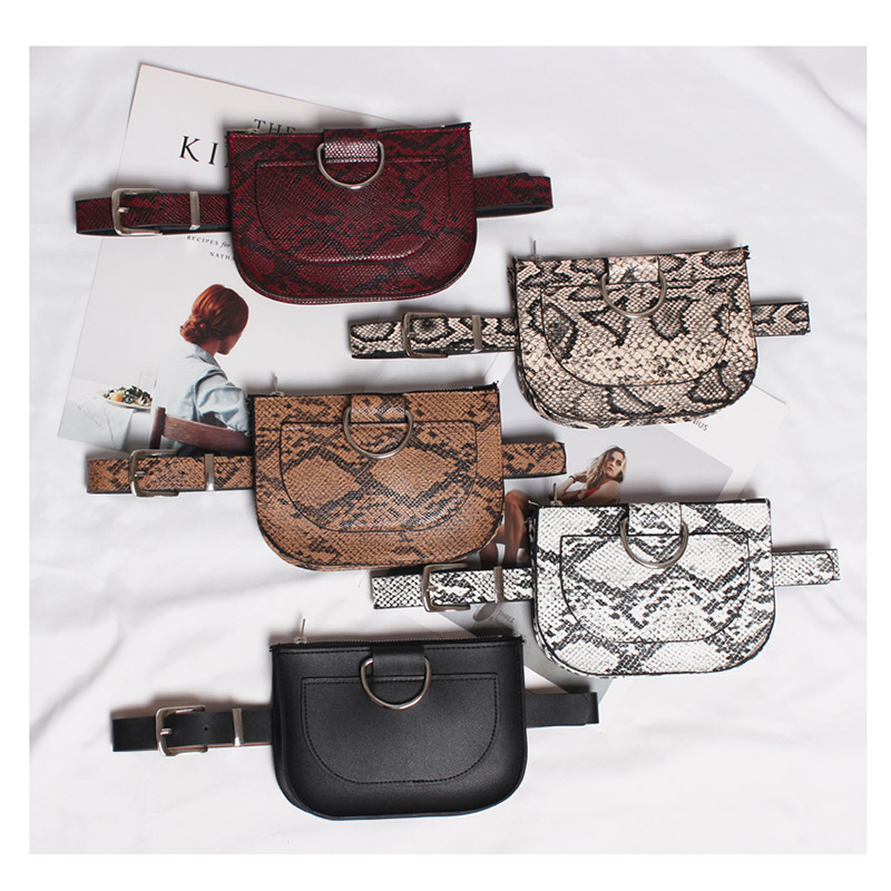 Women Waist Pack Serpentine Fanny Pack Pu Leather Belt Bag Female Fashion Snake Skin Waist Belt  Female