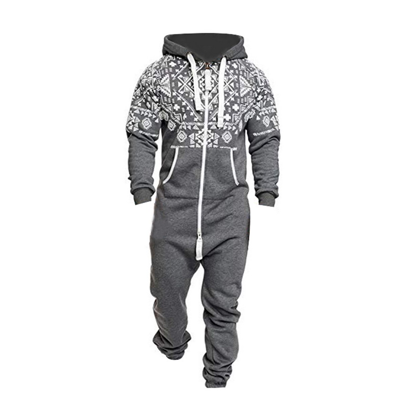 DIHOPE 2020 Autumn Casual Tracksuit Jumpsuits Men Overalls Long Sleeve Sweatshirt Hoodies Long Pants Romper For Male Overalls
