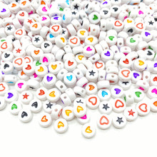 100pcs/Lot 7mm Acrylic Spaced Beads Round Shape Love Heart Beads For Jewelry Making DIY Handmade Charms Bracelet