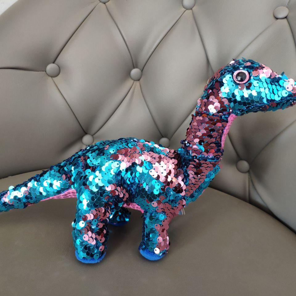 IN STOCK SPACE X TREMOR - Aqua/pink Dinosaur Dragon Reversible Sequin 1PC 28CM Plush Toys Stuffed Animals  KIDS TOYS  Boys Gift