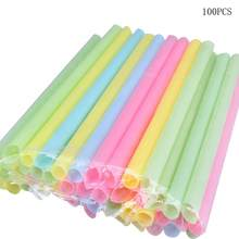 Multicolor 100Pcs Disposable Drinking Straws Pearl Milk Tea Juice Sucker Sturdy Straight Drinks Straws Drink Bar Accessories(China)