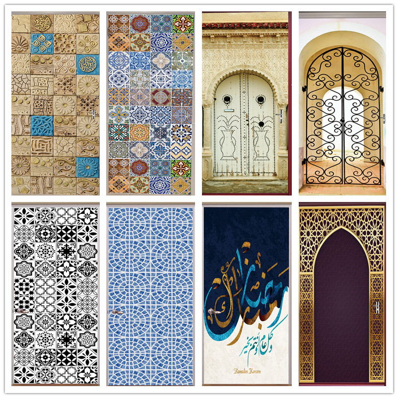 3D Tile Door Sticker Home Decor Vinyl Self-adhesive Mural Poster Arabic Style Retro Pottery Decal Stickers Porte Doors Wallpaper