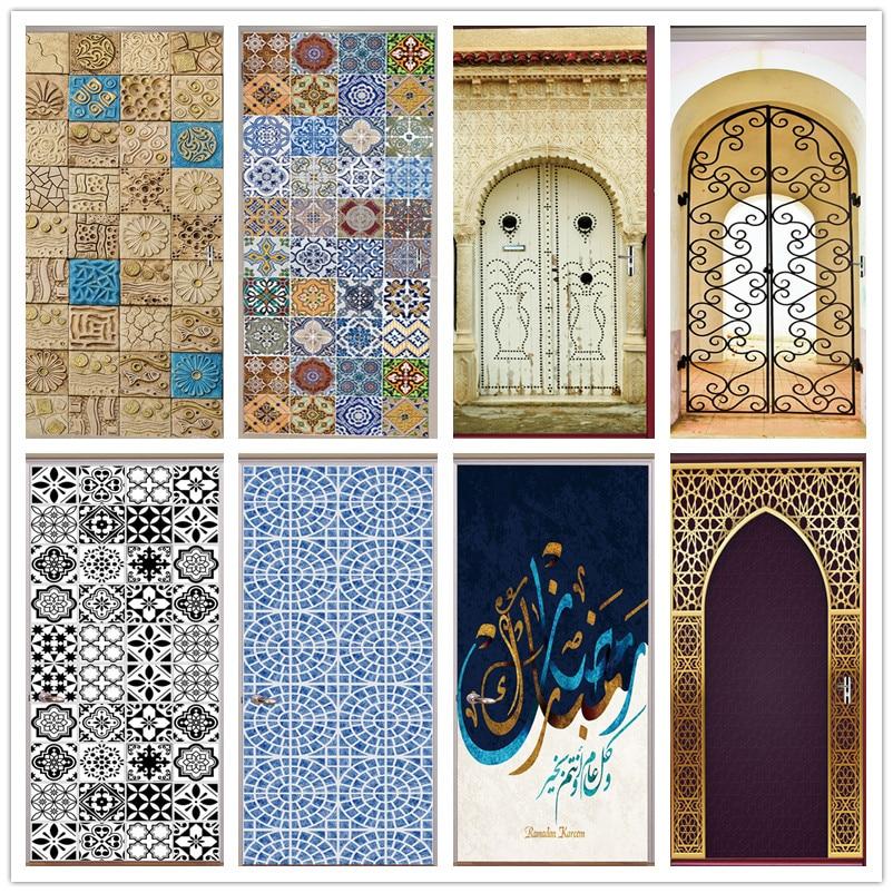 3D Tile Door Sticker Home Decor Vinyl Self-adhesive Mural Poster Arabic Style Retro Pottery Decal Stickers Porte Doors Wallpaper