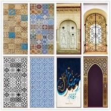 Autocollant Mural 3D en vinyle auto-adhésif, étiquette de poterie rétro de Style arabe, décoration de Porte, papier peint