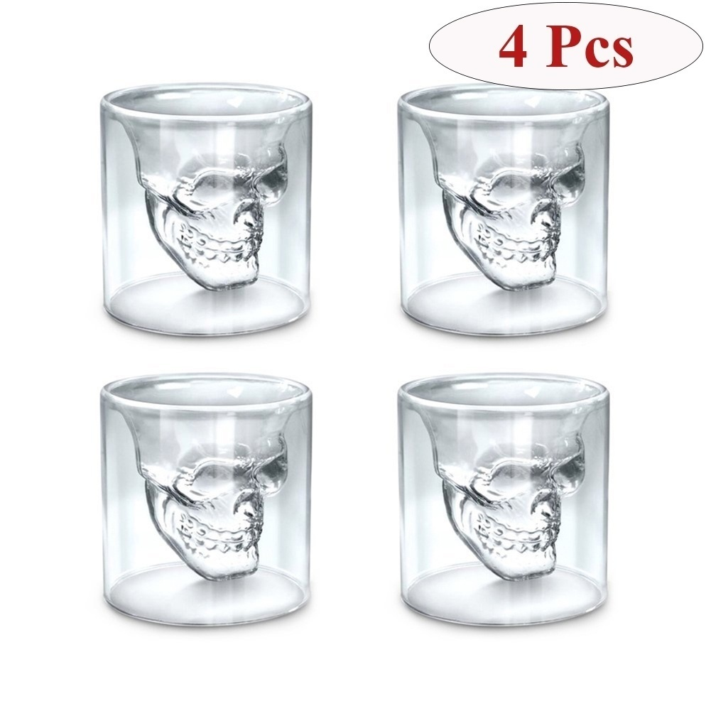 4 Pcs Skull Head Wine Glass Mug Crystal Beer Whiskey Shot Double Glass Cup Vodka Drinking Bar Club Beer Wine Glass Bottle