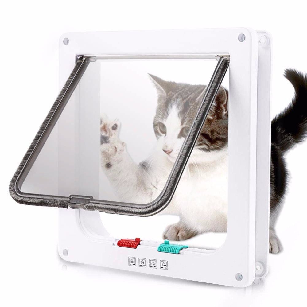 Dog Cat Flap Mate Door With 4 Way Lockable Glass Fitting Pet Supplies Dog Door Hole Control Entrance Exit Gate For Cat Play Toy